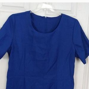 Short Sleeve Sheath Dress Royal Blue